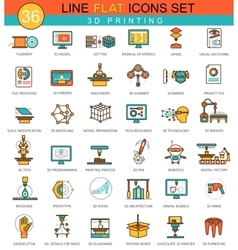 3D printing modeling flat line icon set vector