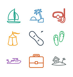 9 vacation icons vector