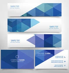 Abstract header and business card set vector