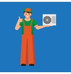 Air conditioner unit repair and installing concept vector