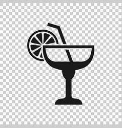 alcohol cocktail icon in transparent style drink vector image