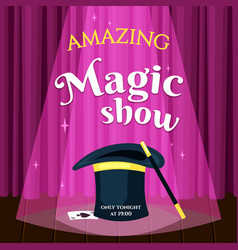 Amazing magic show placard evening vector