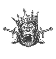 Angry gorilla head in royal crown vector
