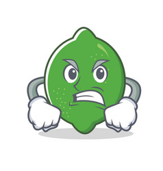 Angry lime mascot cartoon style vector
