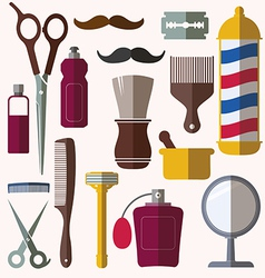 barber and hairdresser related icons set vector image