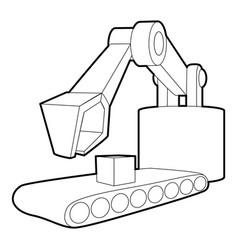 Big excavator icon outline style vector