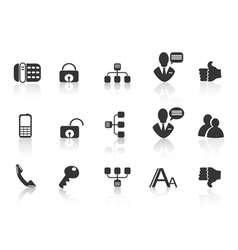 black Communication icons vector image vector image