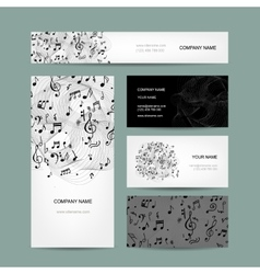 Business cards collection with music design vector image