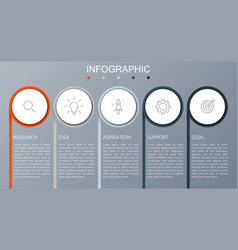 business infographics presentation with 5 steps vector image