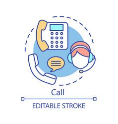 Call concept icon helpdesk hotline idea thin line vector