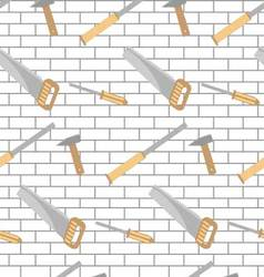 Carpentry tools pattern design brick wall vector image