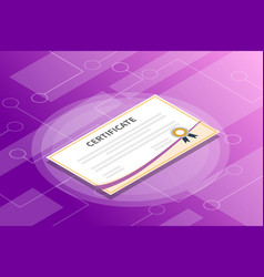 certificate isometric information with violet vector image