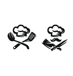 Chef hat with kitchen utensils vector