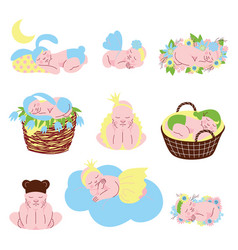 collection of cute sleeping newborn babies vector image