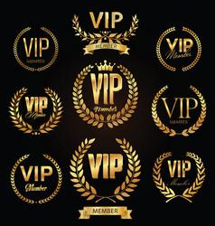 Collection vip golden label with laurel wreath vector