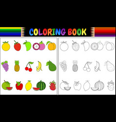 coloring book with fresh fruits cartoon vector image
