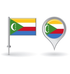 Comoros pin icon and map pointer flag vector image
