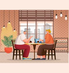 couple in cafe friends in coffee shop eating vector image