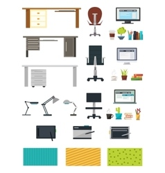 Create interior working place icon set vector