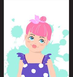 cute girl with pink hair cartoon vector image