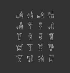 Drinks chalk icons set alcohol menu card vector