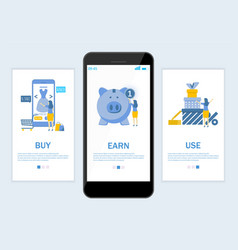 earn cashback website and mobile app onboarding vector image