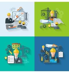 Engineer icon flat set vector image