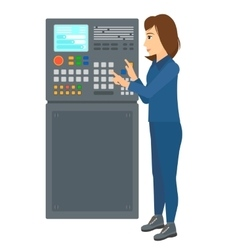Engineer standing near control panel vector