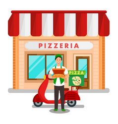 Family pizzeria delivery service flat vector