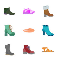 Fashion shoes icon set flat style vector