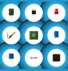 flat icon appliance set of display receiver vector image