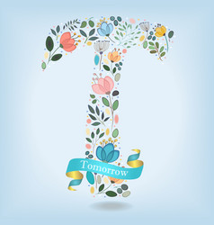 floral letter t with blue ribbon vector image