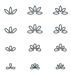 Floral monogram design Elegant line art logo vector image