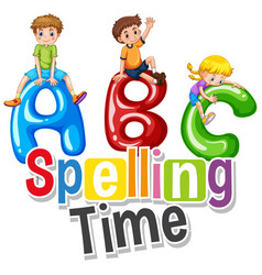 font design for word spelling time with happy vector image