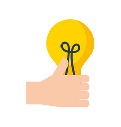 hand holding bulb creativity innovation concept vector image