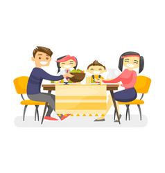 Happy multiethnic family dining at the table vector