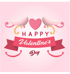 happy valentines day ribbon wing heart pink blackg vector image