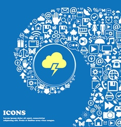 Heavy thunderstorm icon Nice set of beautiful vector
