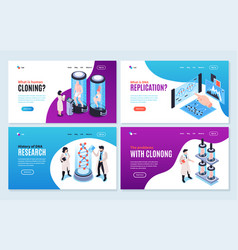 Human cloning isometric banners vector