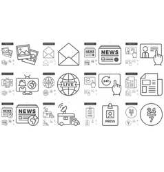 Journalism line icon set vector