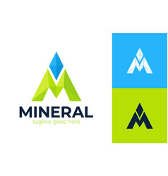 Letter m negative space mineral logo line pin vector