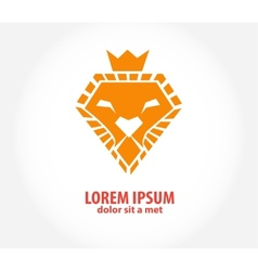 lion head in the form of diamond vector image
