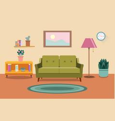 Living room interior furniture sofa bookcase vector