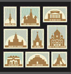 moscow post stamps set vector image