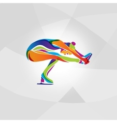 Multicolor silhouette of ice figure skating girl vector