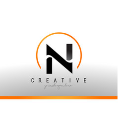 N letter logo design with black orange color cool vector