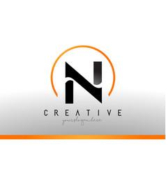 n letter logo design with black orange color cool vector image