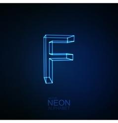 Neon 3d letter f vector
