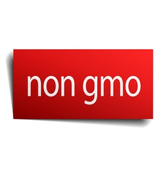 Non gmo red square isolated paper sign on white vector