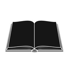 Opened book icon in black style isolated on white vector